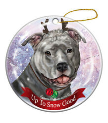 Holiday Pet Gifts Blue Pit Bull Uncropped Dog Porcelain Christmas Ornament