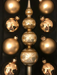 Triple Ball Finial Tree Topper And 8 Gold Glass Christmas Ornaments