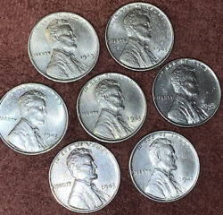 1943 -p Lincoln Steel Wheat Cent Penny Set Au - Lot Of 7 Great Coins