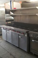 Vulcan Gas 12 Burner Range With Storage Cabinets And Double Overhead Shelves Gh6