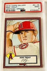 2018 Topps Gallery Mike Trout Heritage Orange Sp /25 Psa 9 And Pop Of 1 Nice