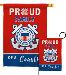Proud Family Coastie Garden Flag Armed Forces Coast Guard Gift Yard House Banner