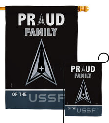 Proud Family Ussf Garden Flag Armed Forces Space Force Gift Yard House Banner
