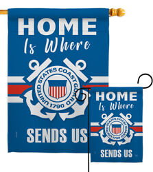 Home Is Where Coast Guard Garden Flag Armed Forces Gift Yard House Banner