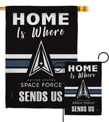 Home Is Where Spece Force Garden Flag Armed Forces Space Gift Yard House Banner