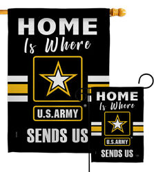 Home Is Where Us Army Garden Flag Armed Forces Decorative Gift Yard House Banner