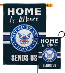 Home Is Where Navy Garden Flag Armed Forces Decorative Gift Yard House Banner