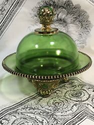 Antique Footed Covered Butter Dish Green Gold 15057 Colorado By U.s. Glass Co