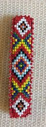 Native American Beaded Hair Barrette Metal Clasp Leather Dazzling Colored