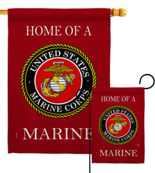 Home Of Marine Corps Garden Flag Armed Forces Decorative Gift Yard House Banner