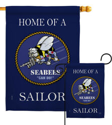 Home Seabees Sailor Garden Flag Armed Forces Navy Decorative Yard House Banner
