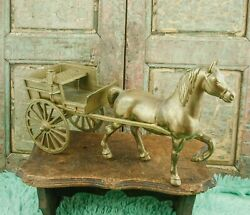Vintage Brass Horse And Cart Carriage Bronze Statue