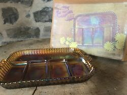 Vintage Iridescent Gold Carnival Glass Relish Tray Indiana Glass Co. Orig. Box
