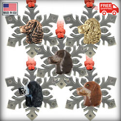 Pewter English Springer Spaniel Snowflake Christmas Tree Ornaments Made In Usa
