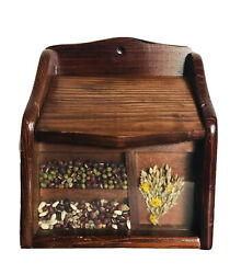 Vintage Recipe Box Wood Shadow Box Dried Flowers Seeds By Gailstyn-sutton Nos