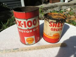Lot Of Vintage Shell X-100 Motor Oil 1 Gallon Metal Red And 5lbs Grease Cans