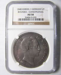 Ngc Au58 Germany Bavaria 1848 Km830 Bavaria Constitution Silver Coin 2 Taler
