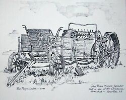 Rose Mary Goodson Pen And Ink Print Of John Deere Manure Spreader Spearfish Sd