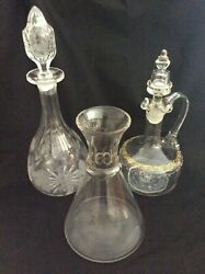 3 Vintage Glass Decanters. Shipand039s Crystal Cut And Hand Blown.