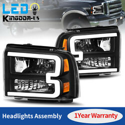 Black For 2005 2006 2007 Ford F250 F350 F450 Superduty LED Tube DRL Headlights $239.99
