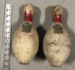 Antique Vtg Pair Of Brunswick Queen Red Crown Duck Pin Bowling Pins 2