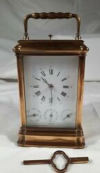 Vintage L'epee Repeat Alarm Day Date Carriage Clock Gorge With Key