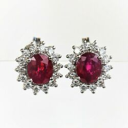 Natural Ruby And Diamond Earrings Burmese Rubies 18k Gold Valuation 6560 New