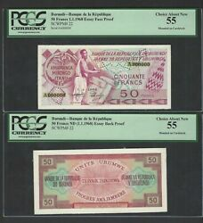 Burundi Face And Back 50 Francs 1-1-1968 P22 Essay Proof About Uncirculated