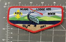 Miami Lodge 495 Order Of The Arrow Oa Flap Patch Bsa Boy Scouts Ohio Oh Www 45th