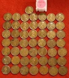 1913-d Lincoln Wheat Cent Penny 50 Coin Fine Roll Great Collector Coins Gift