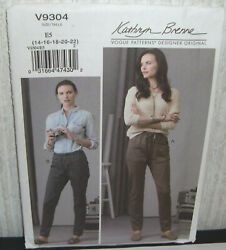 Womens/misses Easy Semi Fit Pull On Pants Sewing Pattern/vogue V9304/sz 14-22/n