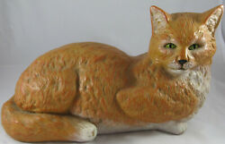 Orange Reclining Ceramic Cat with Cream Accents Vintage Large With Green Eyes