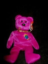 Rare Ty Beanie Baby Millennium Bear Misspelled And039milleniumand039 On Hang And Tush Tag