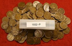 1932-p Lincoln Wheat Cent Penny 50 Coin Roll G-vf Great Collector Coins Gift