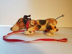 Vintage 1961 Fisher Price Wood Snoopy Sniffer Dog Pull Toy 181 Missing Ears