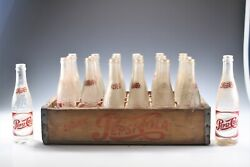 Vintage 1950s Drink Pepsi Cola Soda Wood Crate With 24 Glass Bottles
