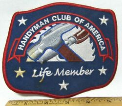 Vtg Handyman Club Of America Life Member Patch Large Hammer Cloth Embroidered