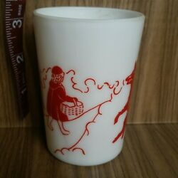 Vintage Milk Glass White Red Little Red Riding Hood Big Back Wolf Storybook Cup