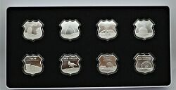 U.s.a Icons Of Route 66 Complete Set 8 X 1oz Shield Shape Silver Rounds In Box