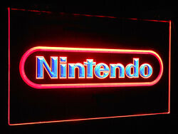 Nintendo Neon Look Led Sign Light Hanging Acrylic Engraved Dual Color