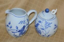 Creamer And Sugar And Lid And Spoon Andrea By Sadek On The Vine Blue Birds Grapes