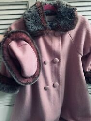 Corky And Co Childrens Pink And Faux Fur Swing Coat W/matching Hat- Sz 7 2 Pieces