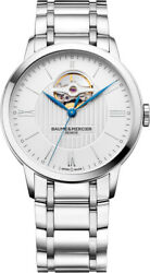 New Baume And Mercier Classima Skeleton Menand039s Automatic St. Steel Watch Moa10525