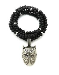 New Panther Mask Black Wooden Necklace 6mm 26quot; Rhodium plated