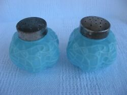 Antique 1893-98 Fort Pitt Glass Works Spider Web Bluesandp Shakers-pittsburgh, Pa.