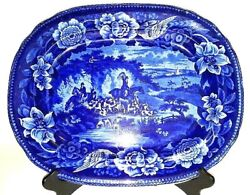 Antique Early Flow Blue And White Platter Hunt Scene, Floral/flower And Bird Border