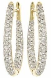 14k Yellow Gold 2.22ct Real Cluster Diamond Party Wear Cocktail Hoops Earrings