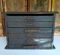 Antique Engineering Sectional Wood Drawers Garage Printer Clock Part Tool Chest