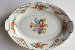 Vintage Aichi China Occupied Japan 18 Platter Flowers Roses Gold Rim