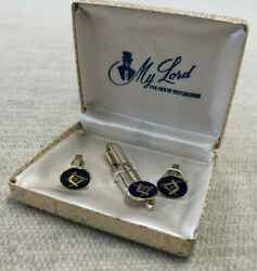 Boxed Vintage Masonic Cufflinks And Tie Clip Set By My Lord